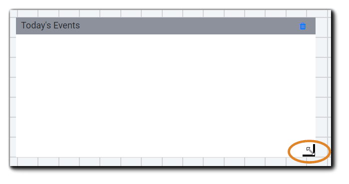 Screenshot: Widget sizing corner with double arrow highlighted.