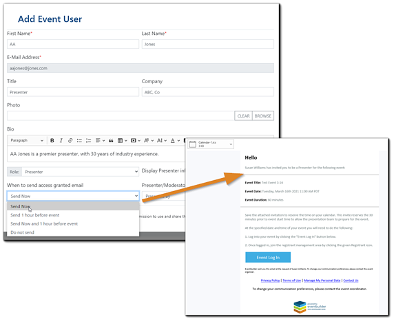 Screenshot: Add Event User dialog with Event Access email attached and highlighted.