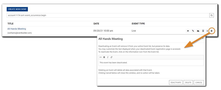 Screenshot: Delete Event dialog.