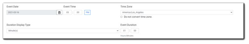 Screenshot: Reschedule Event dialog.