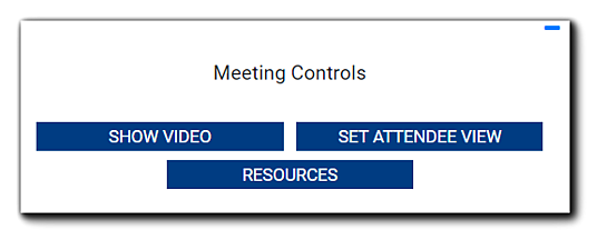 Screenshot: Meeting Controls options: Show Video, Set Attendee View, and Resources.