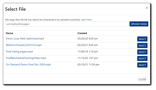 Screenshot: Select File dialog with .mp4 files filtered for selection. There are blue 'select' buttons beside each and an 'upload file' button.