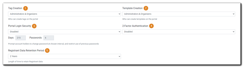 Screenshot: Privileges, Portal Login Security, 2FA, Data Retention.