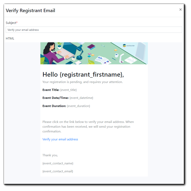 Screenshot: Verify Registration Email editor window.