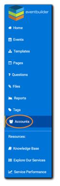 Screenshot: Main navigation, Accounts selection highlighted.