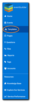 Screenshot: Dashboard navigation panel with Templates option highlighted.