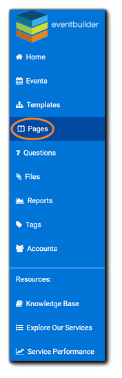 Screenshot: account dashboard with Pages option highlighted.