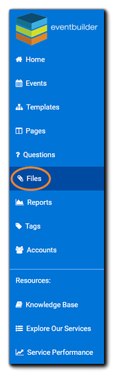 Screenshot: Left-side dashboard navigation with the 'Files' option highlighted.
