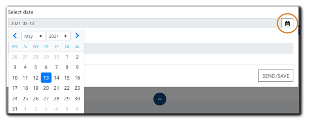 Screenshot: Select date field open with date picker displayed and the calendar icon highlighted.