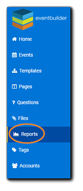 Screenshot: Left navigation with the Reports option circled in orange.