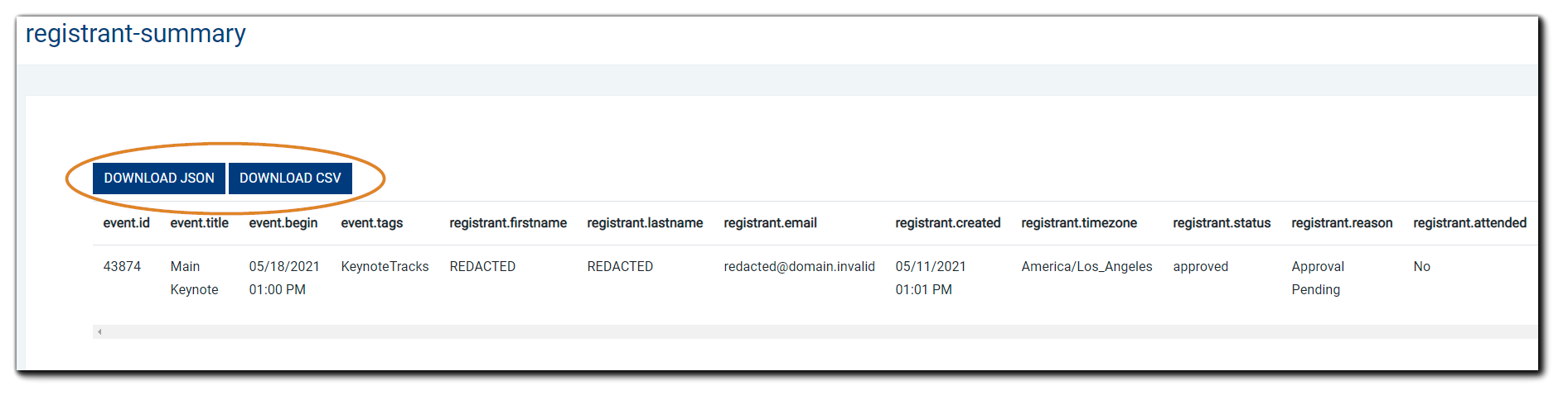 Screenshot: Web View report example. Blue Download JSON and Download CSV buttons are highlighted.