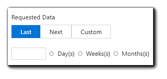 """Screenshot: Requested Data options: Last, Next, Custom, open field with radio buttons """"Day(s) Week(s) Month(s)."""""""