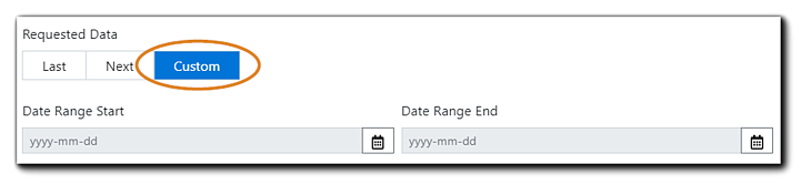 Screenshot: Requested Data dialog with Custom option highlighted. Date Range Start and Date Range End fields are shown.