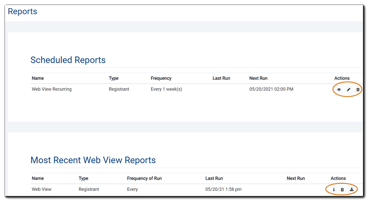 Screenshot: Main Reports page, showing Scheduled Reports (top) and Most Recent Web View Reports. Fields shown for scheduled reports: Name, Type, Frequency of Run, Last Run Next Run, Actions. Actions icons: i (information) and trash. Most Recent Web View Reports. Fields shown: Name, Type, Frequency of Run, Last Run Next Run, Actions. Actions icons: i (information), trash, and download.