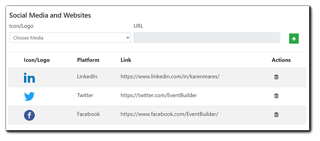 Screenshot: Social Media and Websites dialog. Shown: Platform icon, Name of platform, link, and Actions - trash icon.