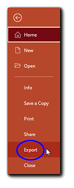 Screenshot: Orange PowerPoint menu with the 'Export' option circled in blue.