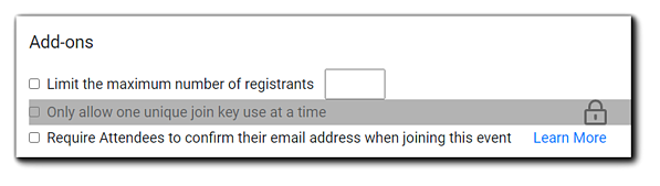 """Screenshot: Add-ons options, """"Limit the maximum number of registrants"""" and """"Require Attendees to confirm their email address when joining this event."""""""