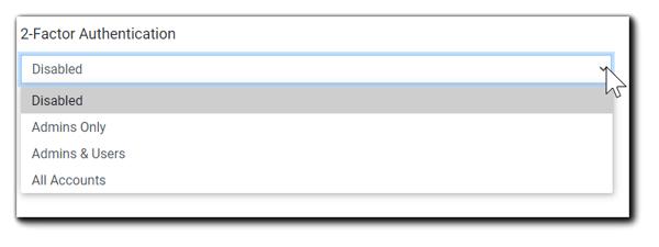 Screenshot: 2-Factor Authentication drop down menu, displaying options.
