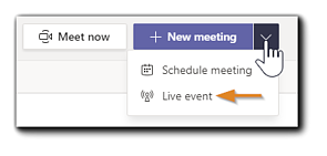 Screenshot: New Meeting dialog in the Teams client, with Live Event highlighted.