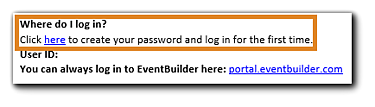 Screenshot: Create Password link from Welcome Email.
