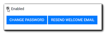 Screenshot: User's 'Enabled' checkbox,' 'Change Password,' and 'Resend Welcome Email' buttons.
