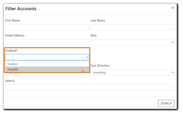 Screenshot: Filter Account dialog window with 'Enabled?' drop down menu highlighted.