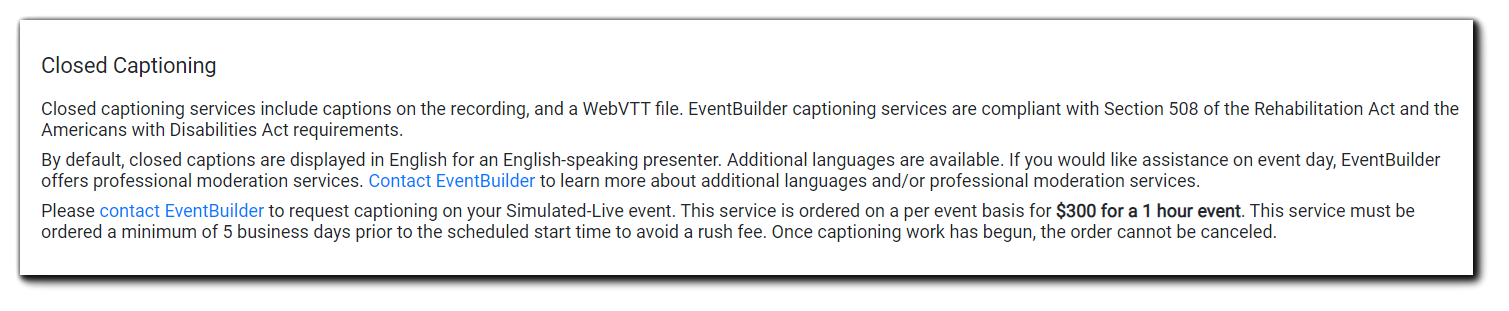 Screenshot: Closed Captioning order instruction for simulated live events.