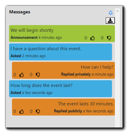 Screenshot: Attendee Messages View, with Moderator responses indicated as 'Replied privately' or 'Replied publically.