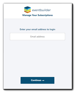 Screenshot: Subscription and Billing Management log in.