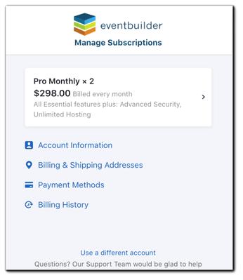 Screenshot: Subscription management main menu.