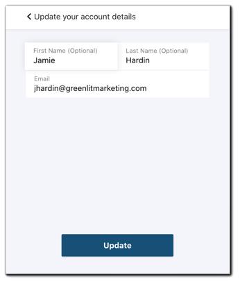 Screenshot: Update account information - user.