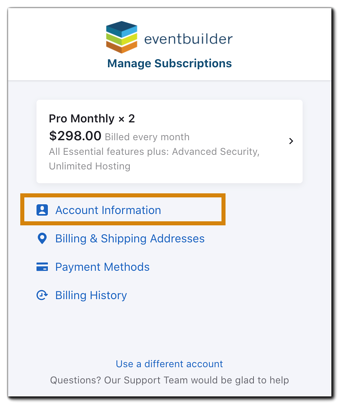 Screenshot: Manage Subscriptions menu with 'Account Information' highlighted.