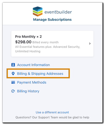 Screenshot: subscription main menu with Billing & Shipping Addresses option highlighted.
