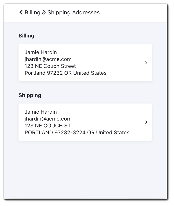 Screenshot: Billing & Shipping Addresses menu.