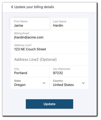 Screenshot: Update Billing & Shipping update screen.