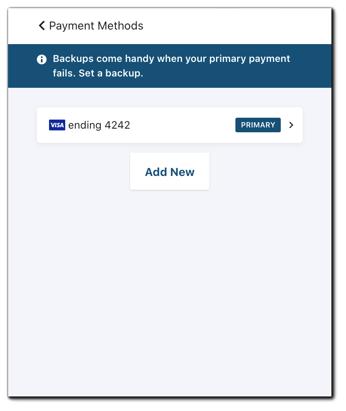 Screenshot: Payment methods update/add new.