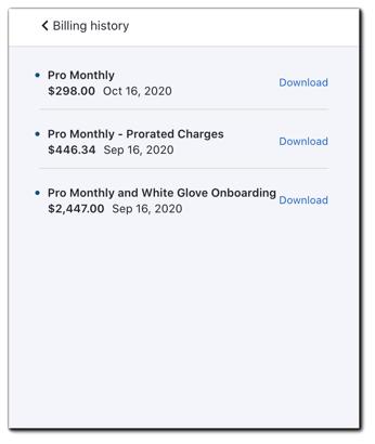 Screenshot: Billing history download screen.