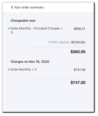 Screenshot: Edit Subscription Details screen with arrows pointing to the main subscription details with changes reflected.