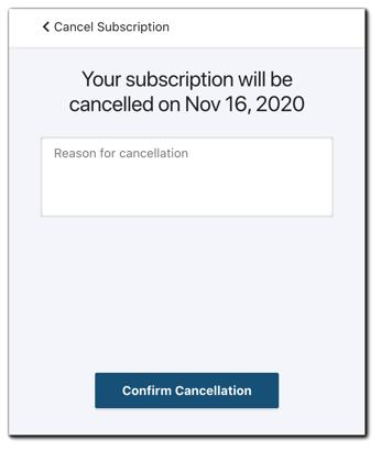 Screenshot: Cancel subscription confirmation screen.