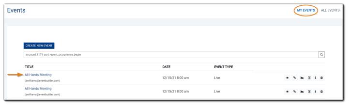 Screenshot: Main Events list.