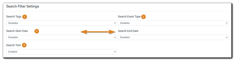 Screenshot: Search Filter Settings for Search Page creation. Dropdown menu options (left to right): Search Tags, Search Event Type, Search Start Date, Search End Date, Search Text.