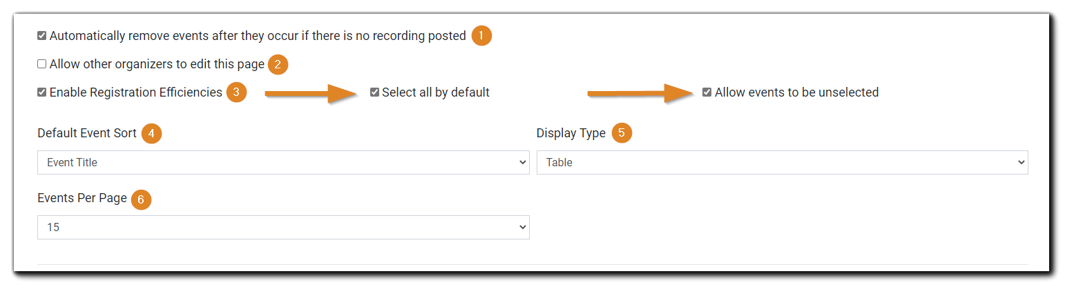 Screenshot: Page customization options, including registration efficiencies, Event Sort, Display Type, and Events Per Page.