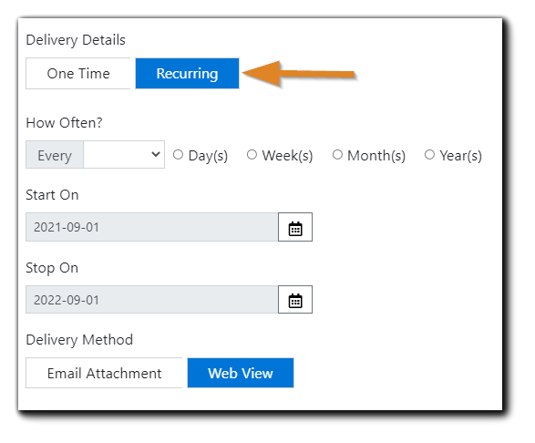 Screenshot: Report request dialog with Recurring option highlighted.
