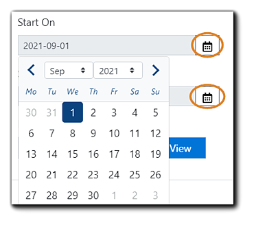 Screenshot: Recurring reports Start On field with date picker shown and calendar icons highlighted.