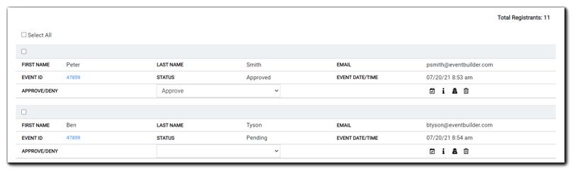 Screenshot: Registrant Management area displaying a list of event registrants and other information.