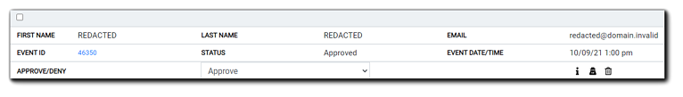 Screenshot: example of a Redacted Registrant. Name fields read REDACTED, email field reads redacted@domain.invalid, Registration date, status, and approve/deny stay the same.