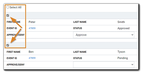 Screenshot: Checkbox to select Registrant example (highlighted.)