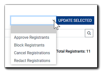 Screenshot: Update Selected drop-down menu with options shown.