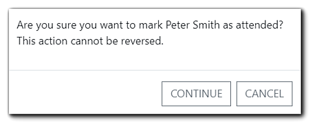 Screenshot: In-person attendance check-in confirmation dialog.