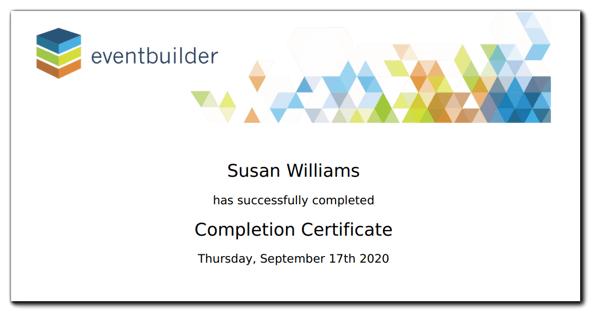 Screenshot: Sample completion certificate